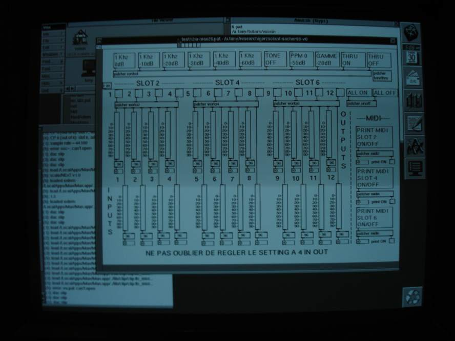 Ircam Max version 0.26 audio test patch on NeXTSTEP before a playing a piece