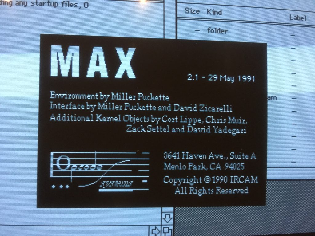 Max version 2.1 - 29 May 1991 - Relaunched in 2019 at the occasion of its 30 years anniversary at Ircam