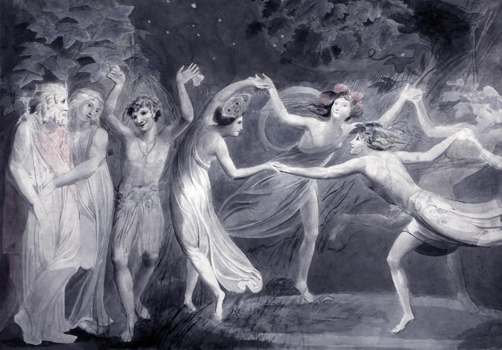 Oberon, Titania and Puck with Fairies Dancing - William Blake - 1786